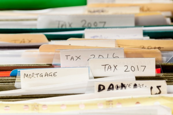 Tax Files in filing cabinet